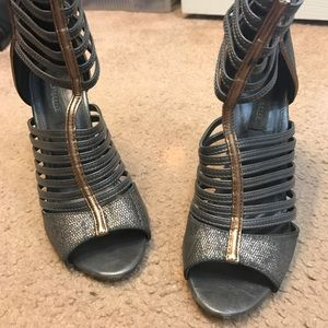 Pewter and gold strappy sandals